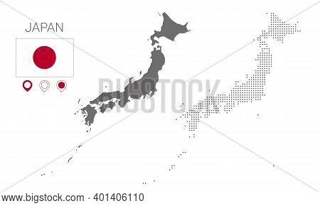 Map Of Japan Silhouette, Japan Map Dotted, Flag Of Japan. Vector Illustration Flat