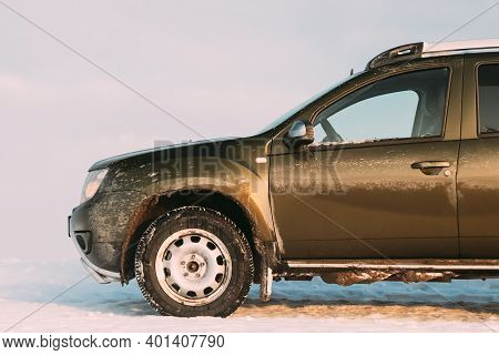 Gomel, Belarus - January 10, 2019: Grungy And Frozen Car Renault Duster Or Dacia Duster Suv Parked O