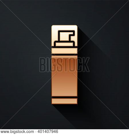 Gold Shaving Gel Foam Icon Isolated On Black Background. Shaving Cream. Long Shadow Style. Vector