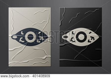 White Reddish Eye Due To Viral, Bacterial Or Allergic Conjunctivitis Icon Isolated On Crumpled Paper
