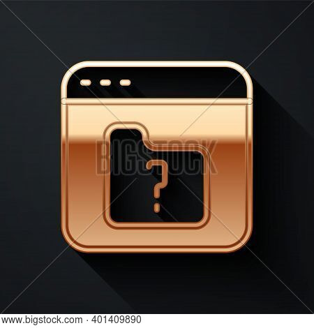 Gold File Missing Icon Isolated On Black Background. Long Shadow Style. Vector