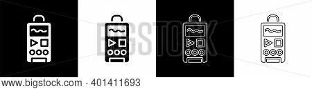 Set Dictaphone Icon Isolated On Black And White Background. Voice Recorder. Vector