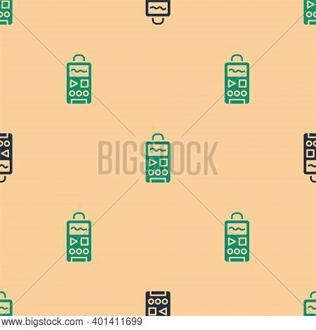 Green And Black Dictaphone Icon Isolated Seamless Pattern On Beige Background. Voice Recorder. Vecto