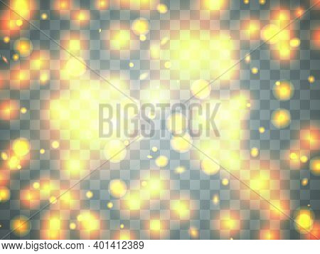 Glowing Light On A Transparent Background. Glowing Particles, Magic Glow. Sparkling Light. Design A