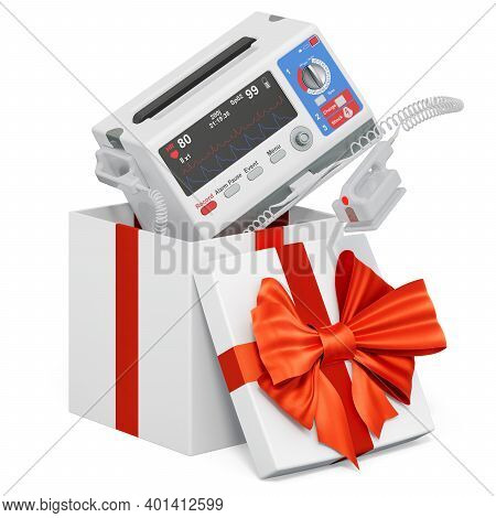 Automated External Defibrillator Inside Gift Box, Present Concept. 3d Rendering Isolated On White Ba