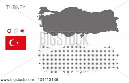 Map Of Turkey Silhouette, Turkey Map Dotted, Flag Of Turkey, Vector Illustration Flat