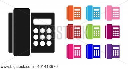 Black Telephone Handset Icon Isolated On White Background. Phone Sign. Set Icons Colorful. Vector
