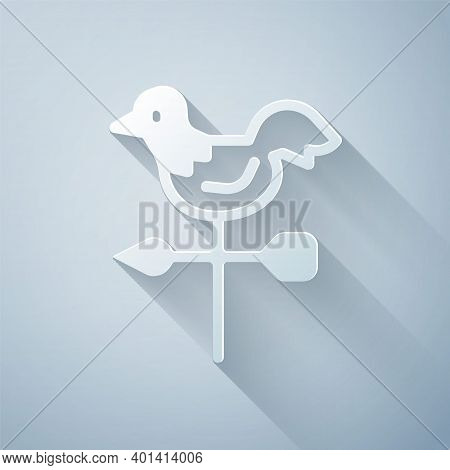 Paper Cut Rooster Weather Vane Icon Isolated On Grey Background. Weathercock Sign. Windvane Rooster.