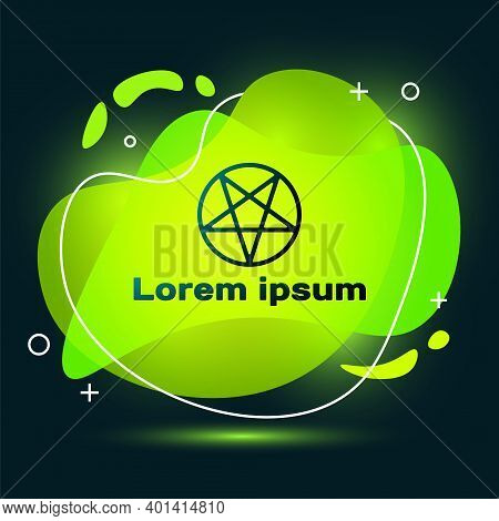 Black Pentagram In A Circle Icon Isolated On Black Background. Magic Occult Star Symbol. Abstract Ba