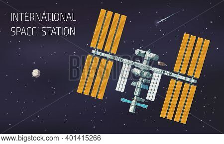 Flat Orbital International Space Station Illustration Station In Space Near Planet And Comet Vector