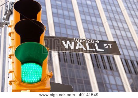 Wall Street Sign And Green Traffic Light, New York