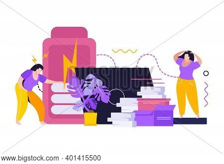 Low Energy People Flat Background With Tired Women Figurines Delivery Boxes Laptop And Smartphone Ic