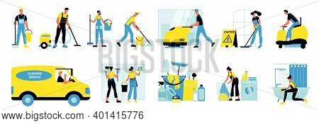 Cleaning Service Isolated Icons Set Of People Working With Industrial Vacuum Cleaner And Mini Tracto