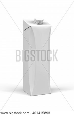 Carton Box Mockup For Drinks - Liter Carton Of Juice Isolated On White Background - 3d Render