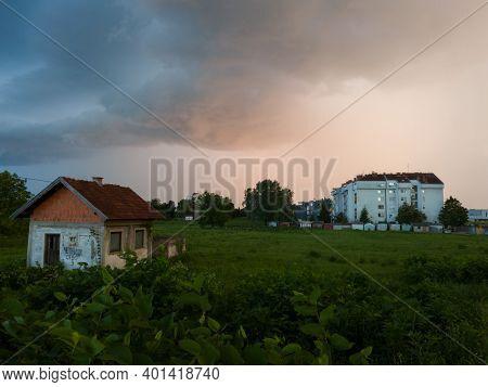 Bosanski Brod / Bosnia And Herzegovina -june 19, 2020: Storm Cumulonimbus Cloud With Heavy Rain Or S