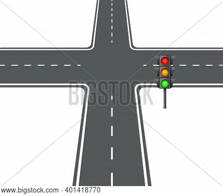 Crossroads View Flat Intersection Trafficlight Vector Illustration