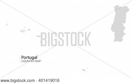Portugal Country Map. Gray Portugal Vector Shape Isolated Icon