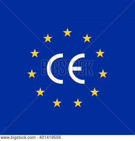Ce Mark Europe Flag Logo. Euro Vector Certificate Symbol