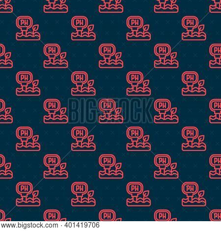 Red Line Soil Ph Testing Icon Isolated Seamless Pattern On Black Background. Ph Earth Test. Vector
