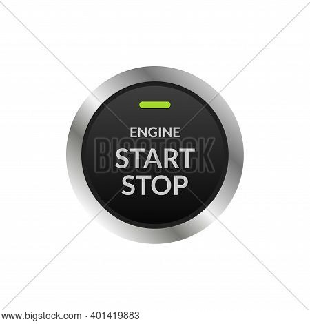 Car Engine Start Stop Button Ignition. Push Circle Button Engine Stop Start Quality