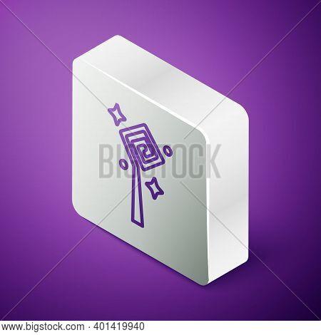 Isometric Line Magic Staff Icon Isolated On Purple Background. Magic Wand, Scepter, Stick, Rod. Silv