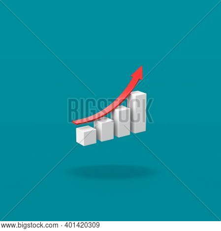 Growing Bar Chart With Rising Red Arrow On Flat Blue Background With Shadow 3d Illustration