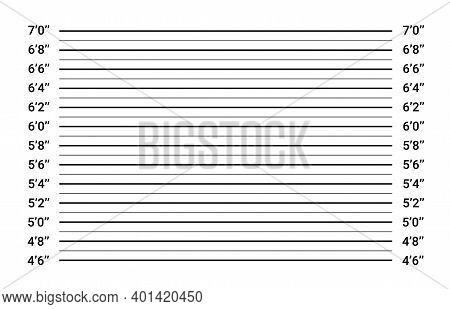 Police Lineup Mugshot Board. Mug Line Background Investigation Height Sign
