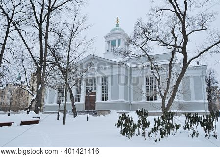 Helsinki, Finland. Old Church On A Cloudy Winter Day