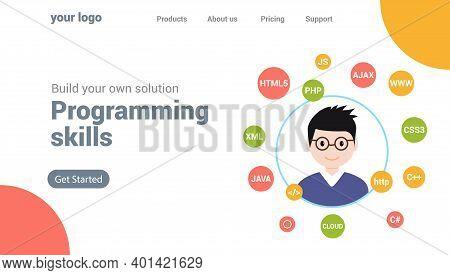 Programmer Flat Design Graphic Illustration. Computer Geek Programming Software Training Website Ban
