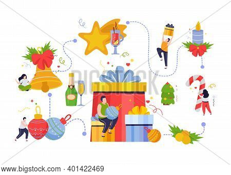 Merry Christmas And Happy New Year Composition With Flowchart Of Isolated Decoration Icons People An