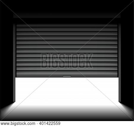 Rolling Shutter Door. Roller Garage Metal Gate. Electric Roll White Window Background Shutter