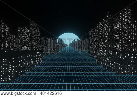Abstract Futuristic Sci-fi Glowing City Landscap With Moon Night Sky Background 3d Rendering