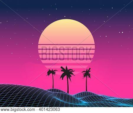 Retro Vaporwave Backgroud Future Landscape 80s Aesthetic Laser Synthwave Grid