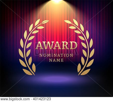 Award Laurel Vector Logo Poster. Gold Win Award Icon Design Emblem Nomination
