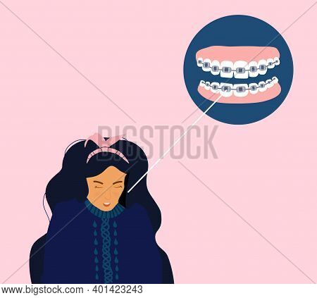 Cute Young Woman With Dental Braces On Teeth. Orthodontics Retainer Or Aligner. Bite Correction Conc