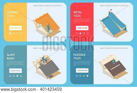 Roofing Contractor Buildings Roof Construction Materials 4 Isometric Web Banners With Ceramic Metal