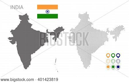Map Of India Silhouette, India Map Dotted, Flag Of India. Vector Illustration Flat