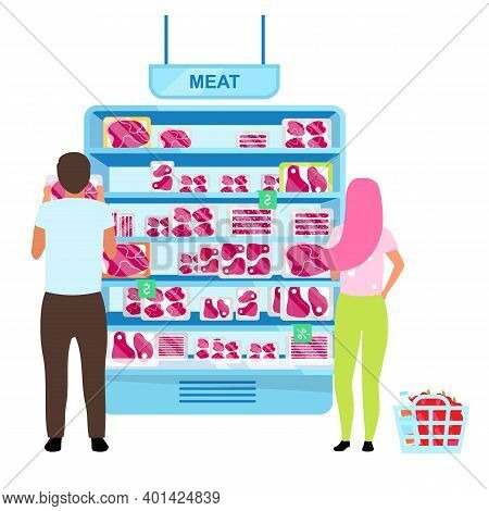 Customers Choosing Meat In Butchery Flat Vector Illustration. Couple Selecting Frozen Meat In Superm