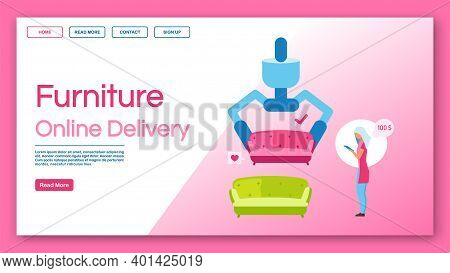 Furniture Online Delivery Landing Page Vector Template.furniture Store Service, House Reconstruction