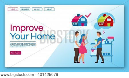 Improve Your Home Landing Page Vector Template. Home Service And House Reconstruction, Apartment Rep