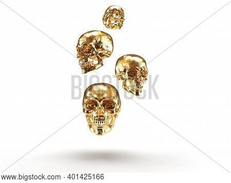 Gold Skulls 3d Render In White Background