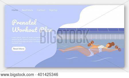 Prenatal Workout Plan Landing Page Vector Template. Aqua Fitness Class For Pregnant Website Interfac