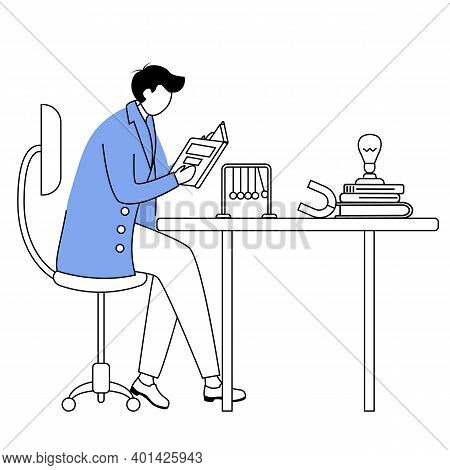 Scientist At His Working Place Flat Contour Vector Illustration. Man In Blue Lab Coat. University Pr