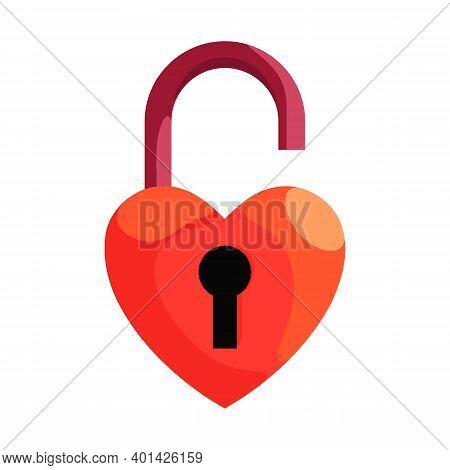 Heart Padlock. Locked Love Illustration, Love Devotion, Romance, Wedding And Valentine Day Symbol, H