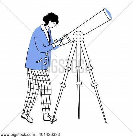 Astronomer Flat Contour Vector Illustration. Observing Stars, Sky. Scientist Discovering Space Simpl