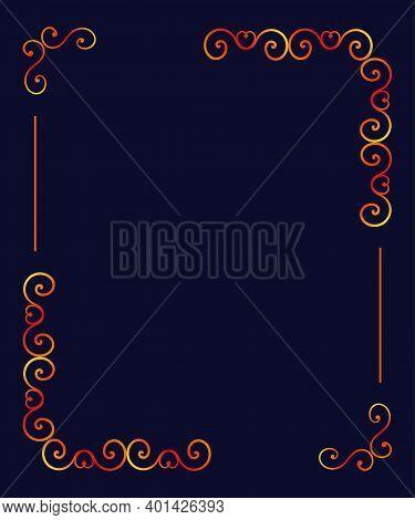 Openwork Card, Invitation In Doodle Style Gradient Openwork On A Dark Blue Background. Blank Under T