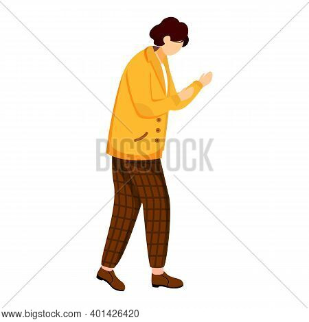 Young Man In Yellow Jacket Flat Vector Illustration. Standing In Defensive Position. Casually Dresse