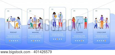 Science Services Onboarding Mobile App Screen Vector Template. Modern Learning Methods. Walkthrough