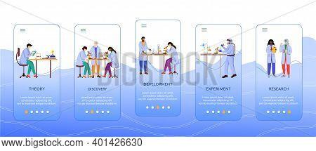 Methods Of Scientific Research Onboarding Mobile App Screen Vector Template. Work Of Scientist. Walk
