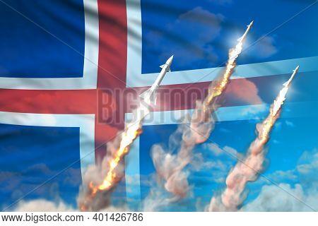 Modern Strategic Rocket Forces Concept On Blue Sky Background, Iceland Ballistic Missile Attack - Mi